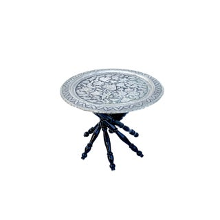 Antique Repousse Pewter Tray Table |Qalam Zani Plant Stand