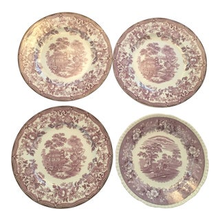 1930s Vintage Mixed Mulberry Transferware Dinner Plates - 4 For Sale