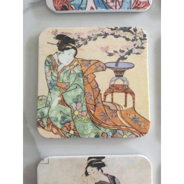1970s Japanese Geisha Women Coasters - Set of 6 For Sale - Image 5 of 10