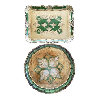 Italian Florentine Gilt Trays, 2 Piece For Sale