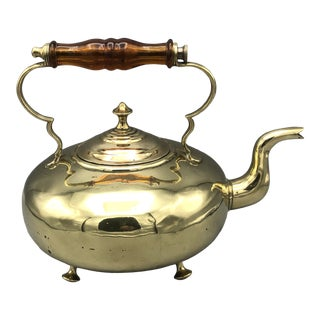 Antique Brass Tea Kettle With Glass Handle & Feet For Sale
