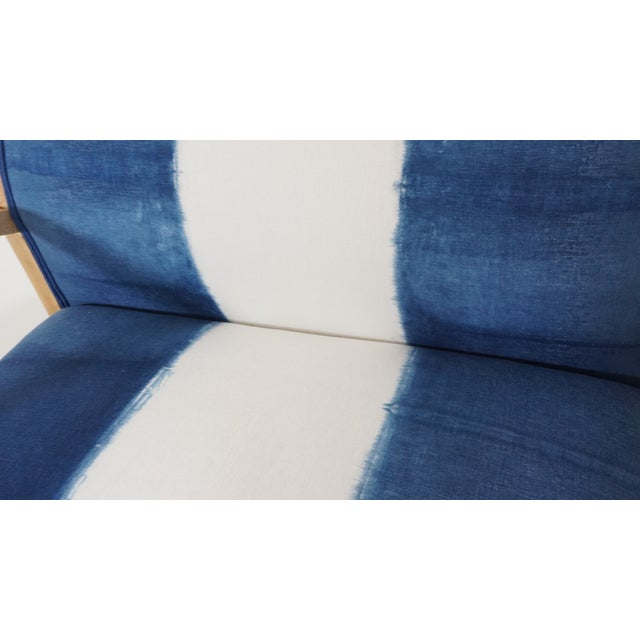 Linen Hand Dyed Indigo Settee For Sale - Image 7 of 7