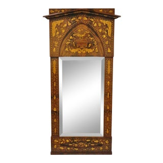 19th Century Satinwood Dutch Marquetry Inlaid Beveled Glass Console Wall Mirror For Sale