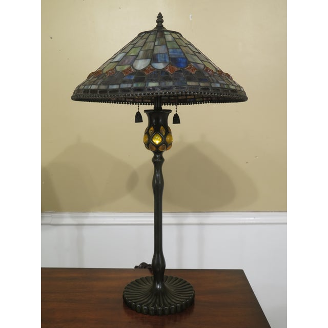 Quoizel Arts & Crafts Stained Glass Lamp For Sale - Image 9 of 9