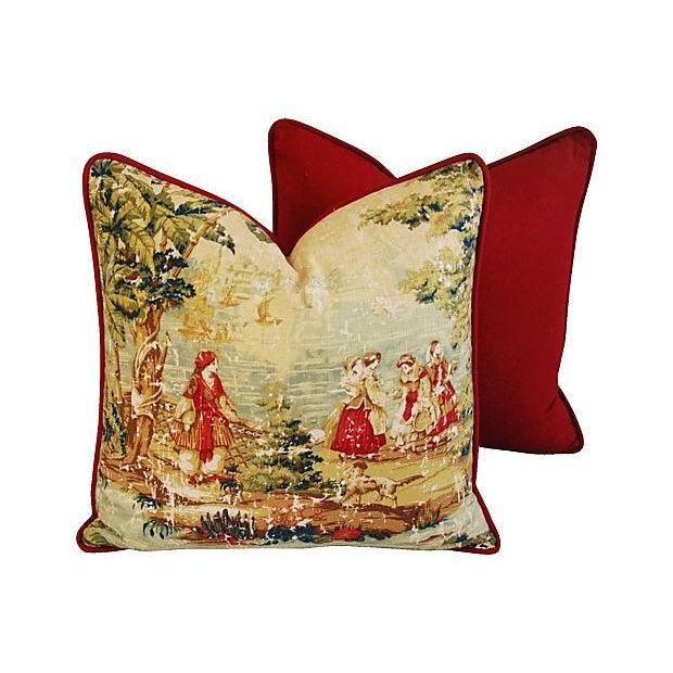 Designer Renaissance Toile Linen Pillows - A Pair - Image 7 of 8
