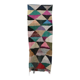 "Moroccan Kilim Boucherouite Rug- 3'3"" X 8'8"" For Sale"