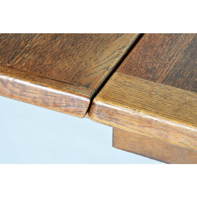 Wood Mid-Century Modern Extension Dining Table attributed to Guillerme et Chambron For Sale - Image 7 of 8