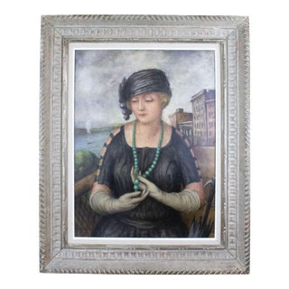 """Early 20th Century """"Green Necklace"""" Portrait Painting For Sale"""