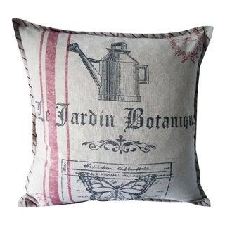 Farmhouse Distressed Botanique Pillow For Sale