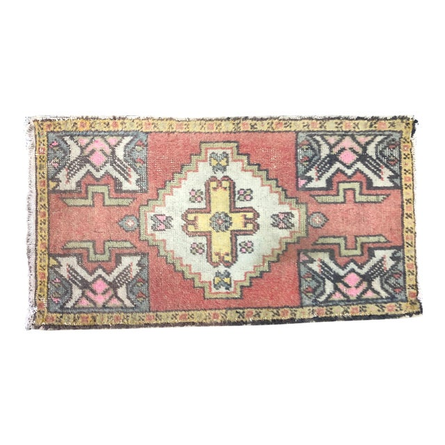 Red Turkish Handmade Faded Rug For Sale