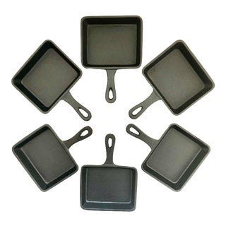 Antique Set of Six (6) Cast Iron Small Pans Individual Serving Steak Eggs Black Japanese Square Shape Handle For Sale