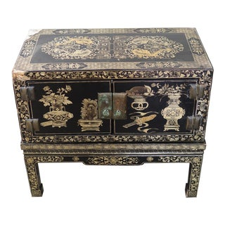 1970's Chinese Hand-Painted Coffer Side Table