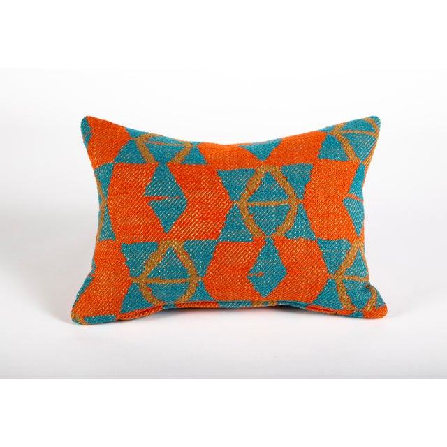 Textile Orange and Blue Triangles Pillow For Sale - Image 7 of 7