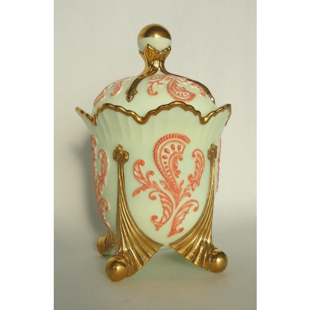 Gold & Coral Custard Glass Lidded Dish - Image 5 of 8