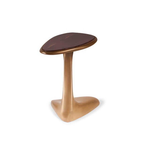 Amorph Palm Side Table Gold Finish With Walnut Top For Sale - Image 4 of 9