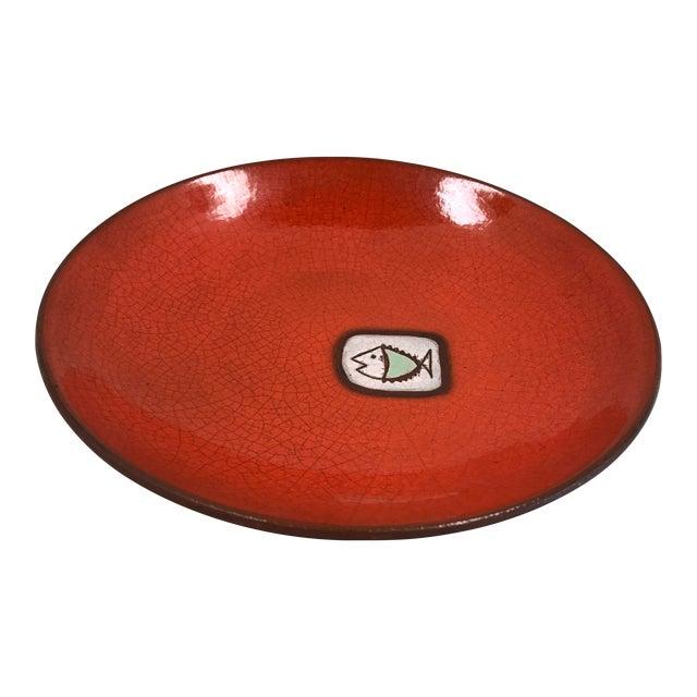 Mid 20th Century Vintage Saks Fifth Avenue French Orange Ceramic Fish Plate - Image 1 of 7