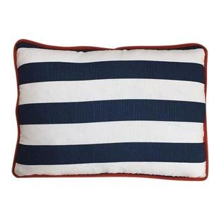 Kim Salmela Navy & White Striped Pillow with Orange Welt For Sale