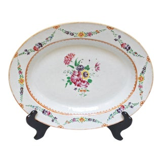1780s Chinese Neoclassical Floral Design Platter For Sale