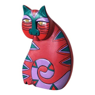 1980s Laurel Burch Carved Wood Cat Sculpture For Sale