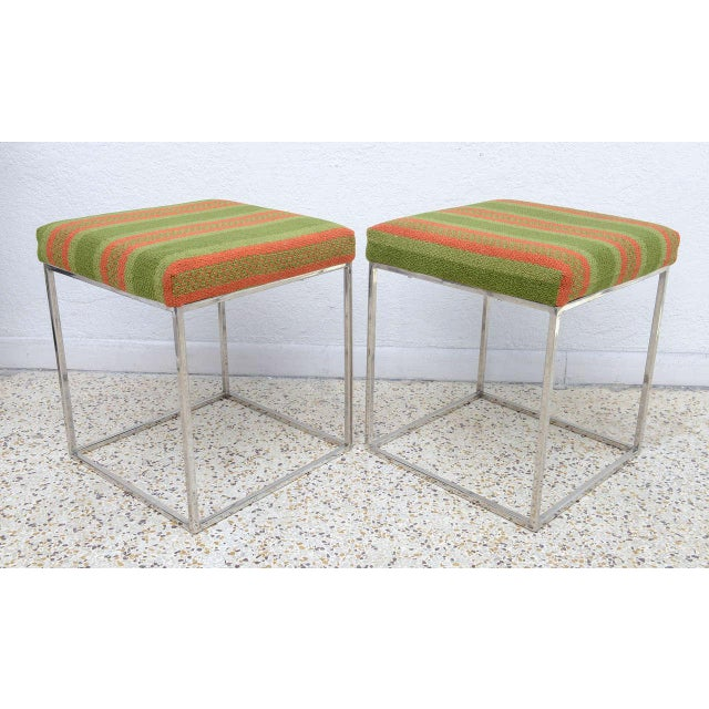 1970s Milo Baughman Mid-Century Polished Chrome Thin Line Stools - A Pair For Sale In West Palm - Image 6 of 9