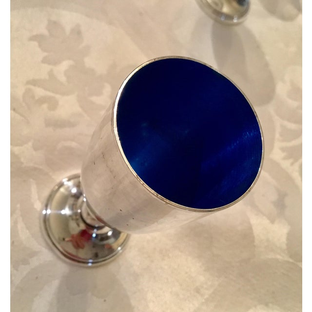 Art Nouveau Mid 20th Century Art Nouveau Royal Blue and Silver Cordials - Set of 5 For Sale - Image 3 of 6
