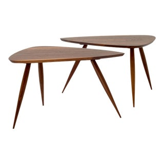 Walnut Triangular Occasional Tables by Phillip Lloyd Powell - a Pair For Sale