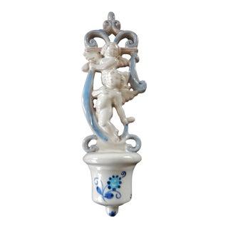 Italian Ceramic Holy Water Font W/ Angel