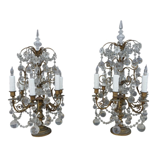 French Crystal & Bronze Lights - Pair - Image 1 of 9