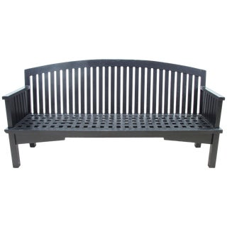 Long Black Wooden Garden Bench