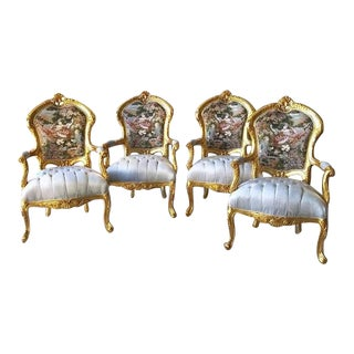 Modern French Louis XV Style Chairs- Set of 4 For Sale