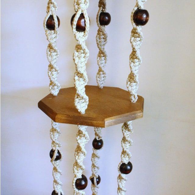 Vintage Wood Macrame Hanging Shelves - Image 4 of 7