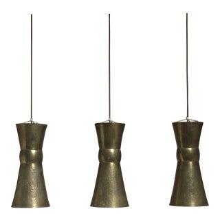 Three Large Hand-Hammered Brass Bauhaus Pendants, Hayno Focken, Germany, 1930s