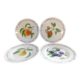 Williams Sonoma Porcelain 'Historical Poetic Quotes' Fruit Plates - Set of Four For Sale