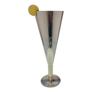 1980s Poaova Argenti Brass & Silver-Plated Oversized Goblet For Sale