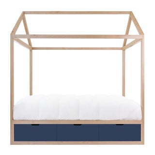 Domo Zen Twin Canopy Bed in Maple With Deep Blue Finish Drawers For Sale