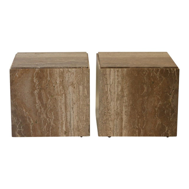 1970s Travertine Tables - a Pair For Sale