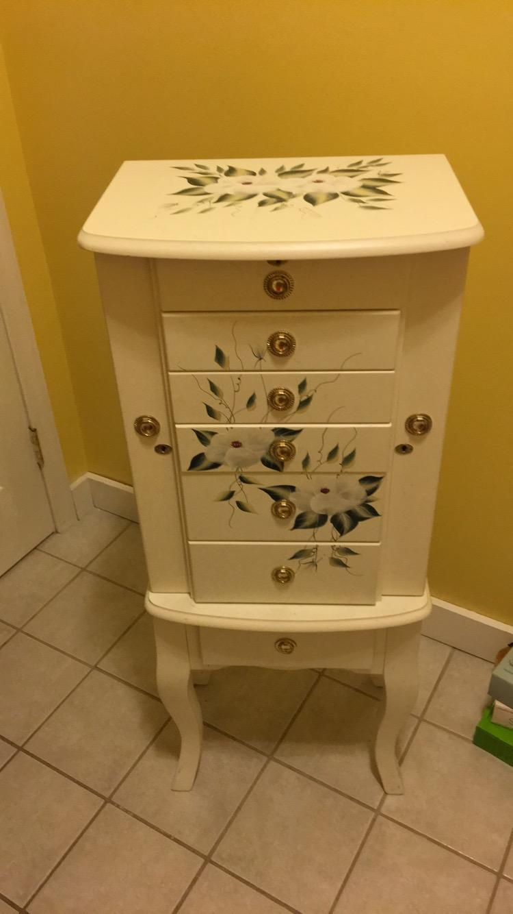 HandPainted Floral Jewelry Armoire Chairish