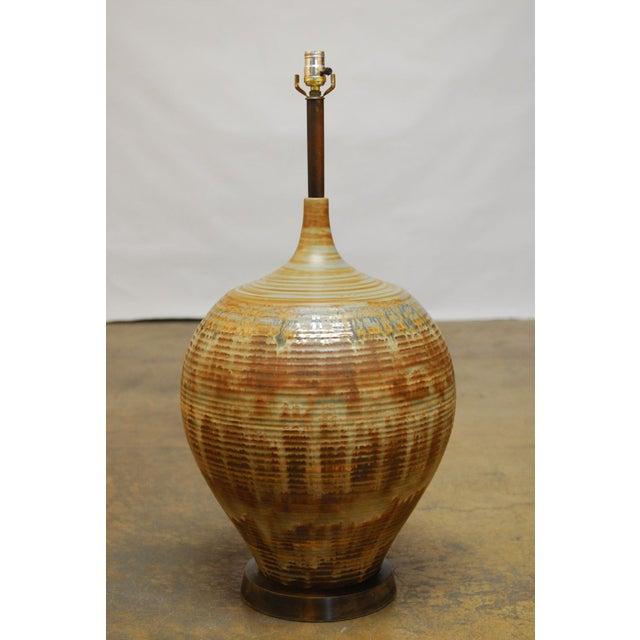 Mid-Century Drip Glaze Table Lamp - Image 4 of 5