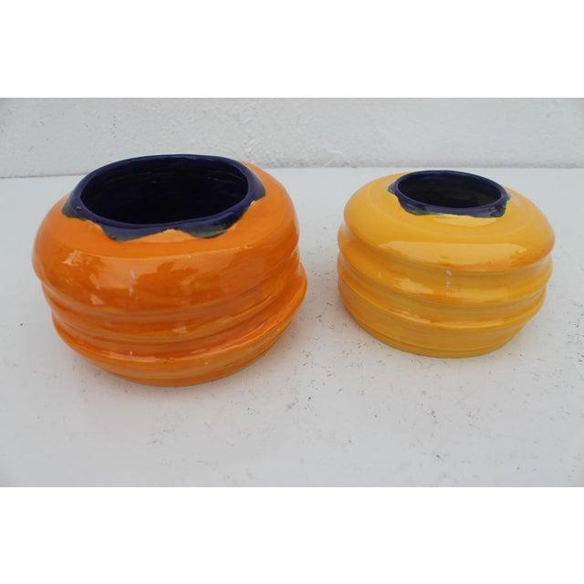 Vintage Colorful Art Ceramic Vases - a Pair - Image 3 of 6