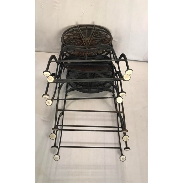 1960s Vintage Wrought Iron Pinwheel Bistro Style Folding Chair- Set of 4 For Sale - Image 6 of 13