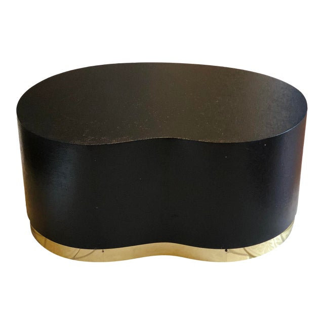 1970s Art Deco Karl Springer Kidney Black Grasscloth and Brass Coffee Table For Sale