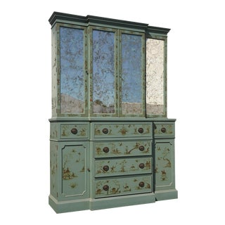 Vintage Chinoiserie Asian Teal China Hutch Cabinet W Gold Veined Mirrors by Sloanemaster Cmc For Sale