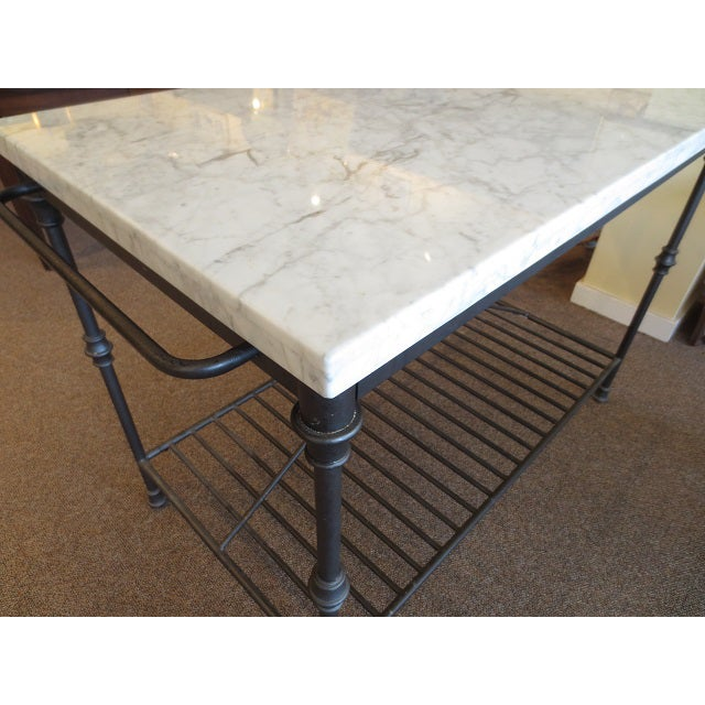 Marble Top Metal Base Kitchen Island - Image 7 of 9