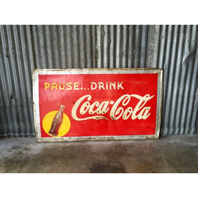 Vintage 1940s Original Metal Coca Cola Sign - Image 3 of 10