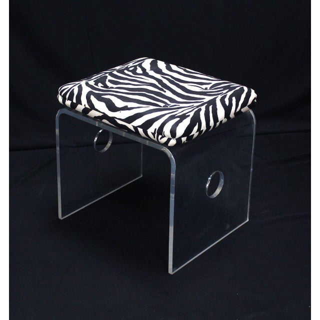 Early 20th Century Pair of Bent Lucite Benches with Zebra Upholstery Cushions For Sale - Image 5 of 8