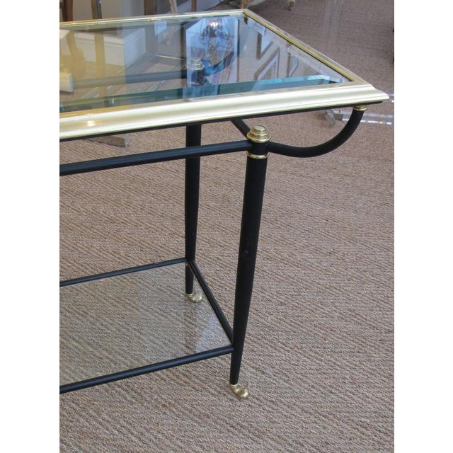 Good French 1960s Brass and Black Metal Console Table For Sale - Image 4 of 6