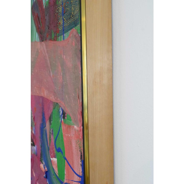 Canvas Joseph M. Glasco Oil and Collage on Canvas, #34, Dated 1985 For Sale - Image 7 of 13