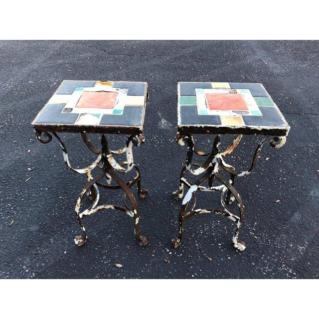 Vintage Iron Tile Top Tables - a Pair For Sale In New York - Image 6 of 10