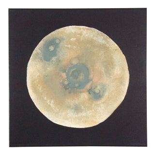 "Modern ""Southwest Moon"" Abstract Sage Green and Tan Painting For Sale"