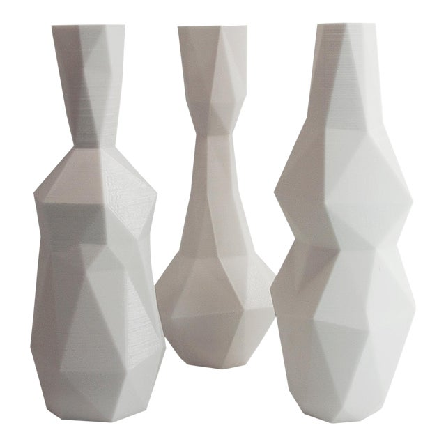 White 3D Printed Cubist Art Vases - Set of 3 - Image 1 of 5